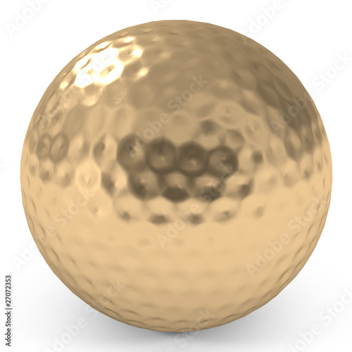 Golden Golf Ball isolated on white