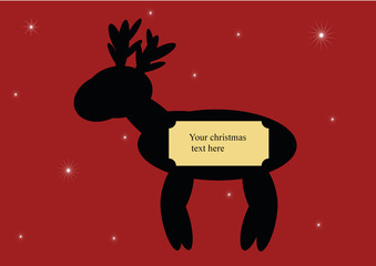 christmas text sign with reindeer