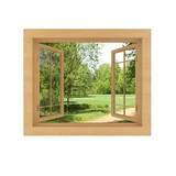 Fototapeta Drewniane okno z widokiem na polanę