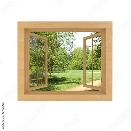 Fototapeta window view isolated on a white