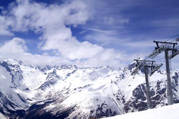 Ski-lift at the ski resort.