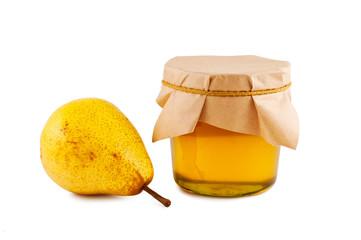 Honey, pear, isolated white background.