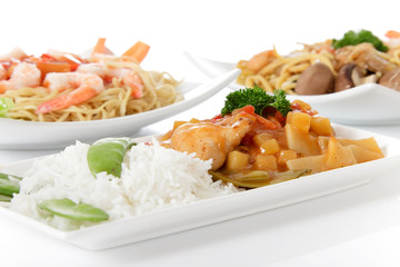 Plates with oriental meals