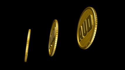 3d анимация золотая валюта чёрный фон