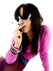 Teenage Girl Smoking. Model Released
