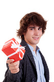 happy young man, with a red gift