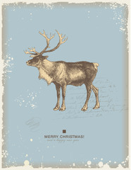 retro christmas/winter background with reindeer