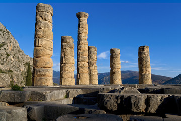The temple of Apollo in the archaeological site of Delphi