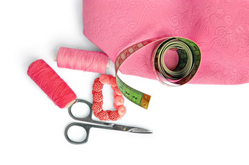 Pink accessories with fabric