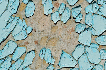 cracked surface of blue paint