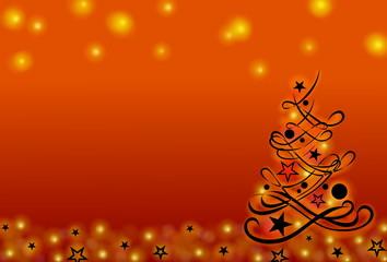 Hintergrund mit Weihnachtsbaum, orange