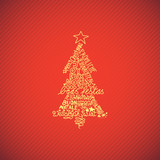 Christmas tree, different languages, red background
