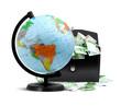 Globe, money and briefcase
