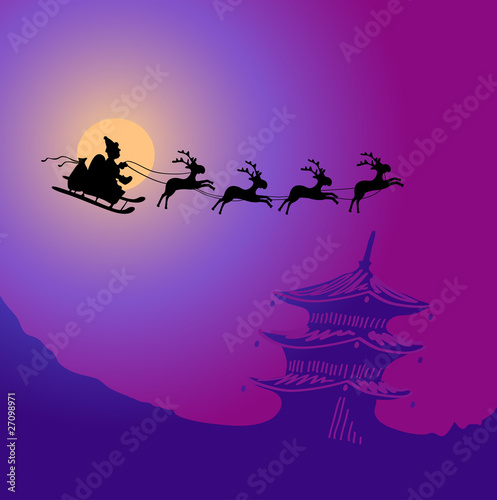 Santa Claus with reindeers flying over China