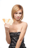 young woman refusing to eat healthy bread