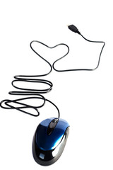 computer mouse with heart from wire (isolated)