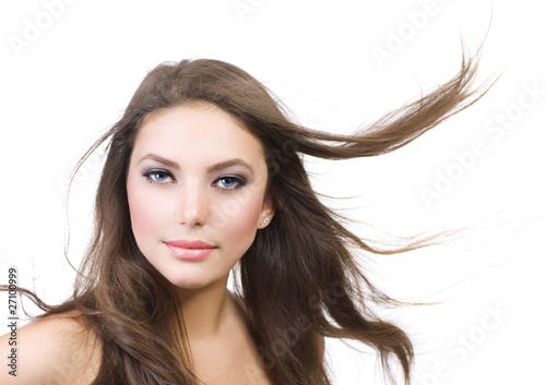 Beautiful Girl with long Hair.Isolated on white