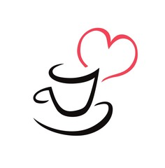 Cup with red  heart