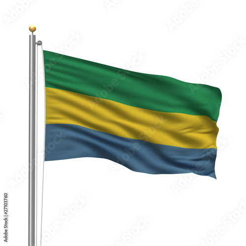 Flag of Gabon waving in the wind over white