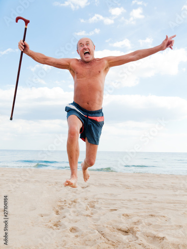 Leinwandbild Motiv jumping senior