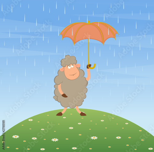 Cartoon sheep with umbrella. Vector.