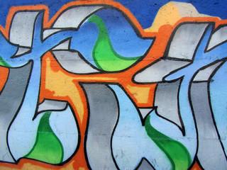 Graffitis bleu et orange