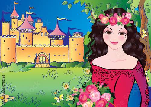 Foto op Aluminium Kasteel Beautiful princess on landscape background. Fairy-tale.