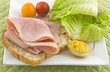Open faced ham sandwich