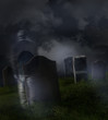 Ghostly man wandering in an old cemetery