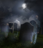 Ghosts wandering in old cemetery