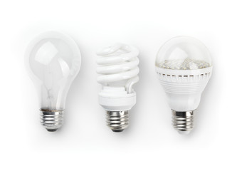LED Fluorescent and Incandescent Light Bulbs