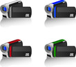 four colour camcorders - vector illustration