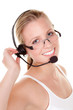 lächelnde junge frau mit headset