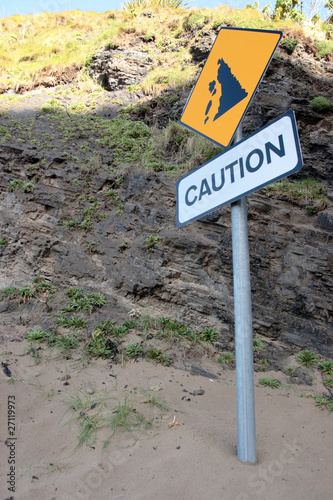 landslide caution sign