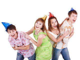 Group of teenager in party hat. Isolated.