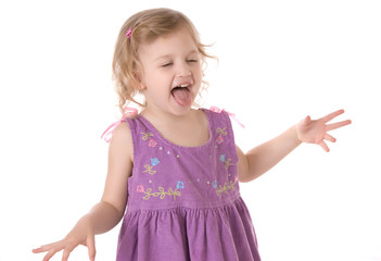 fretful little girl screaming and  standing on white background