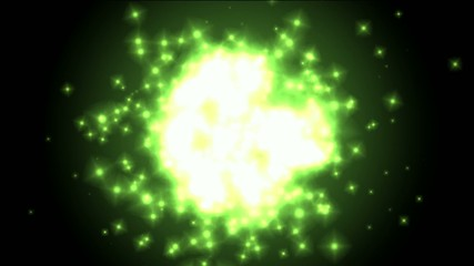 Universe explosion and fragment,green circle and Particles.