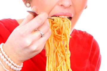 Young Woman Eating Spaghetti. Model Released