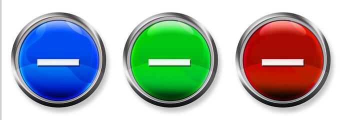Minus Sign 3-D RBG Buttons