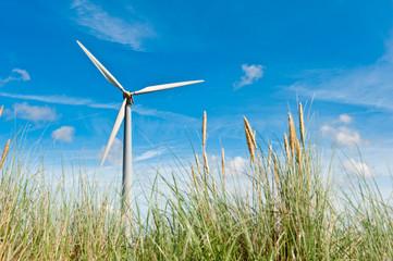 wind turbine and sand dunes