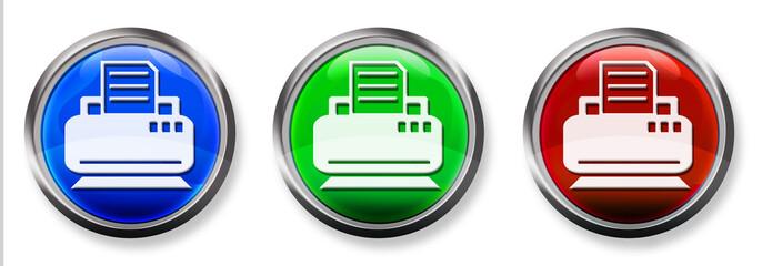 Printer Icon 3-D RGB Buttons