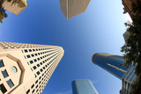 Upward view of Downtown Skyscapers in Houston Texas poster