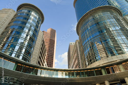 Upward view of Downtown Skyscapers in Houston Texas