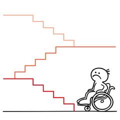 figur rollstuhlfahrer vor treppe