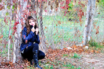 pensive autumn teen girl