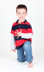 Preschool boy on white background