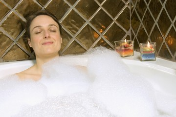 Woman Having A Bubble Bath