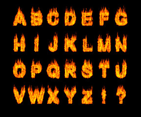Set of Burning Latin Alphabet Letters