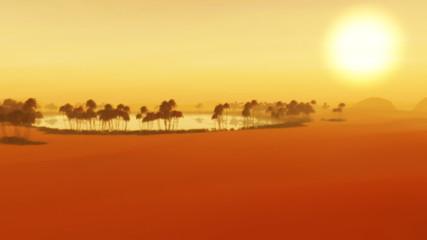 Sunset Sahara Desert Oasis Sand Storm Dunes Wilderness