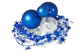 Blue Christmas balls and decorations isolated on white backgroun